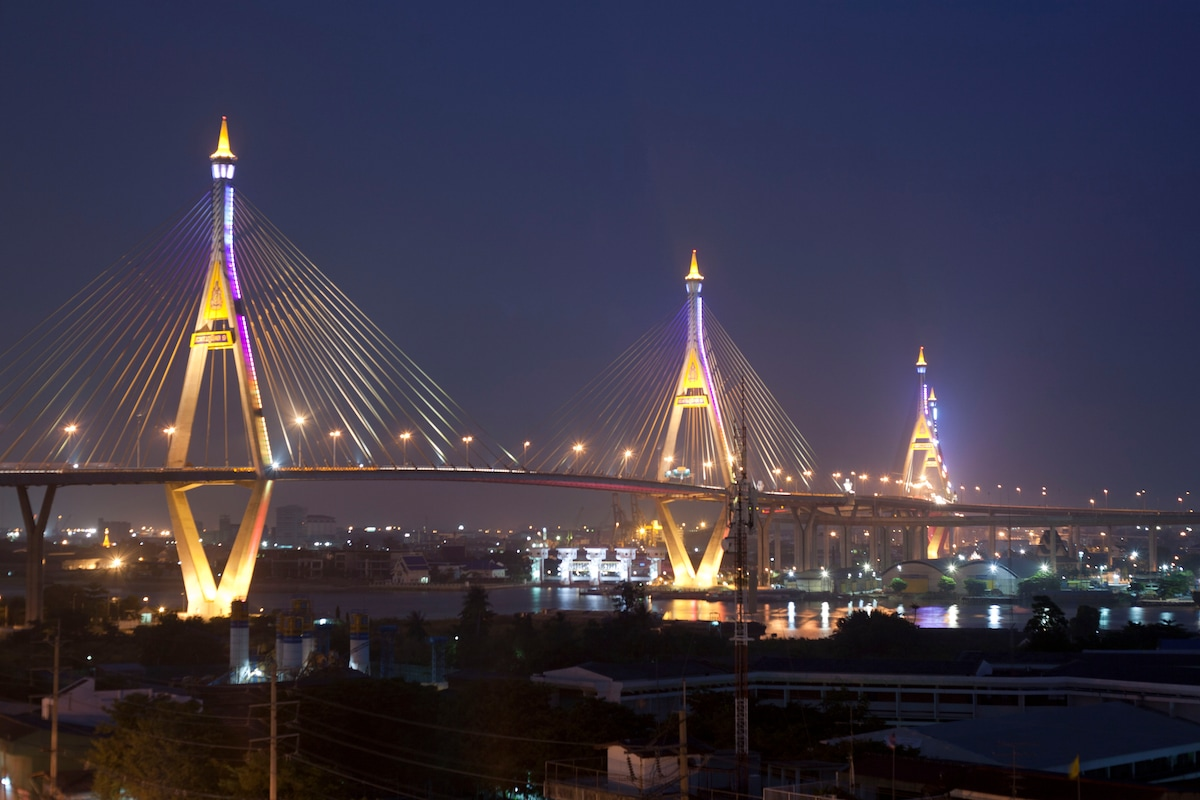 View of the bridge from the balcony, lights up every night, especially nice during The Loy Kratong Festival