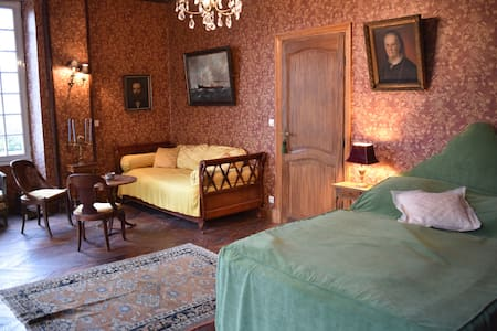 Chambres Marron, Noir, Jaune et Salon dans Chateau - Mignerette - Zamek
