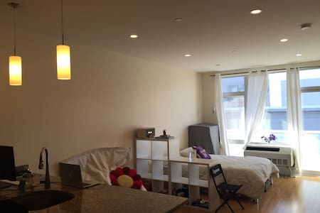Beautiful Private Location, in Clinton Hill/Fort Green Area in Brooklyn.  Studio Space is New and Modern offering Hardwood floor, Stainless steel appliances, Granite counter tops, Full Memory foam bed, with A full (website hidden)/Heater installed.