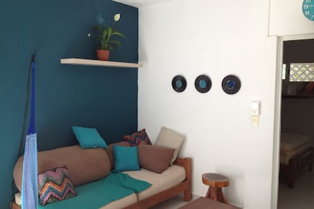It's a nice, comfortable and functional apartment. There are two rooms : one bedroom with a matrimonial bed (and bathroom apart) and one kitchen/living room with a sofa bed (one person). Located in town, very close to the pristine beachs of Tulum!