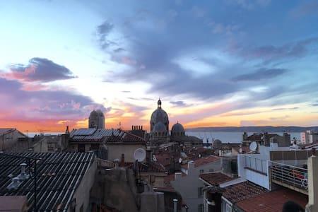 Le Panier, terrasse privée, vue mer, calme, soleil - Marseille - Appartement