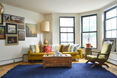 I have a fabulous apartment in Fort Greene. An authentic Brooklyn home and Brooklyn experience! For the month of October and holiday seasons I am offering the entire two bedroom place for your luxury and leisure. Plenty of space to spread out, three closets, and a fully equipped kitchen!