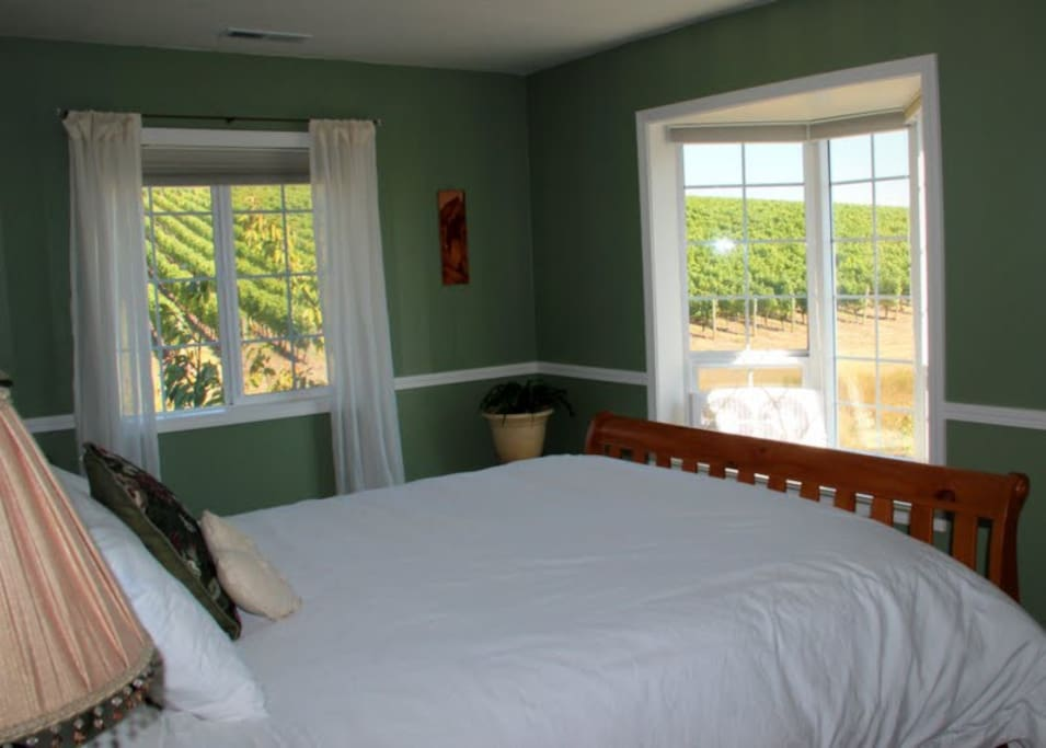This photo shows the view a bit better. The Four Graces vineyard is just steps outside our back door.