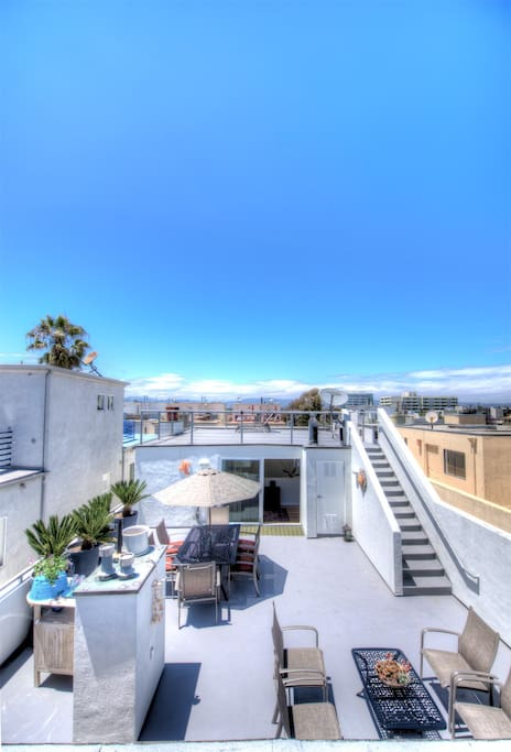 Private 2 level 1000 square foot roof deck.