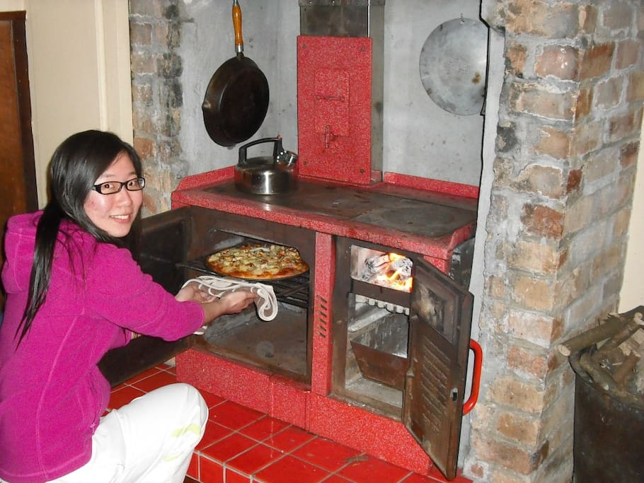 Original Shacklock wood stove cooking throughout the Winter