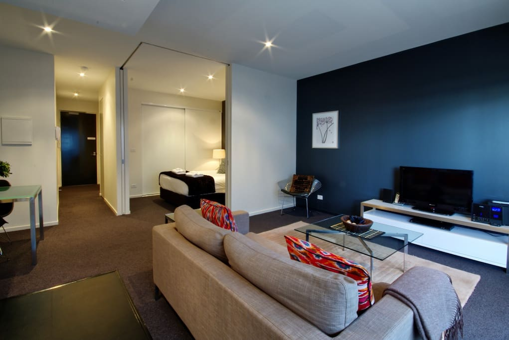 Relax in the living room with a digital TV, CD/DVD and comfortable couch