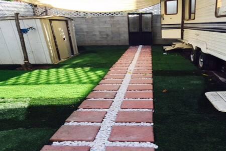 Trailer in Hollywood Backyard