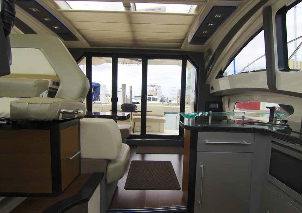 Interior of this Yacht For Charter at Miami Boat Experts: Charters, Crew, Supplies & Maintenance in Miami, Florida Keys and The Bahamas!