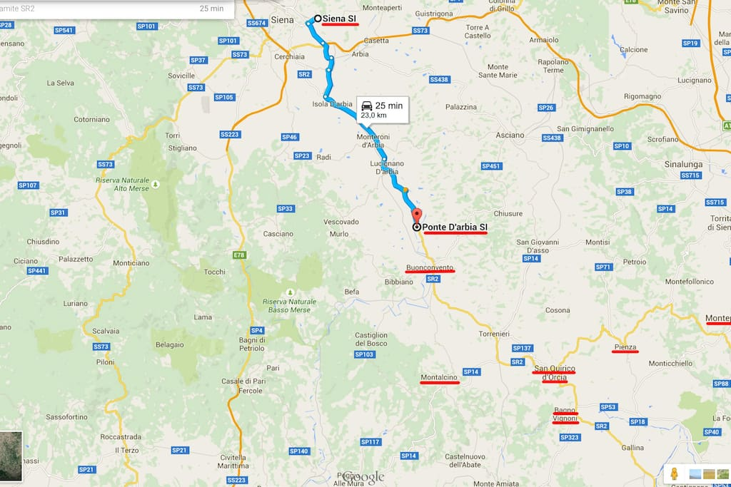 Ponte d'Arbia is a small village in a strategic position: half way between Siena and Montalcino/Val d'Orcia area.