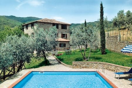 """The apartment """"Il Castagneto"""" is part of the farm-holiday """"Le Capanne"""" in Castiglion Fiorentino (AR). The structure is completely immersed in Tuscany and the guest can fully enjoy the wonderful panoramic view of the Valle di Chio."""