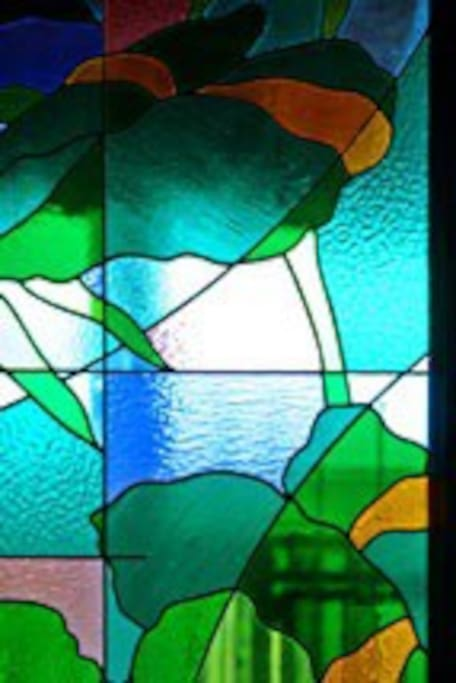 Famous Sylvia Laks stained glass windows throughout
