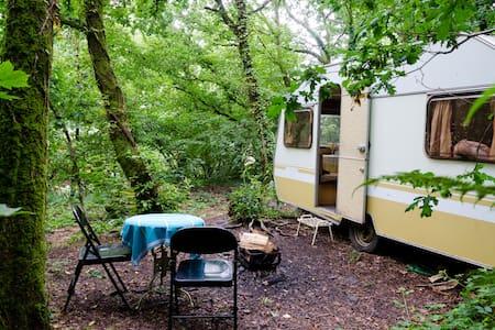 Vintage caravan in a quarry - Camper