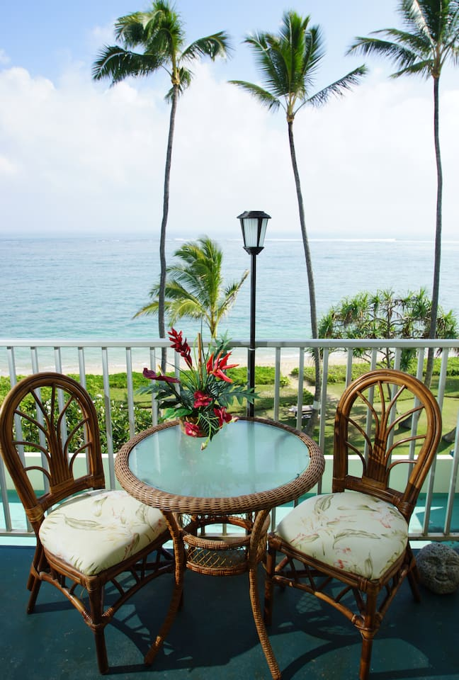 Beautiful view of the beach and ocean from our lanai (balcony)
