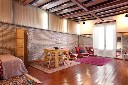 """Spacious and light apartment  """"loft""""type,  very close to the Ramblas and the port. It is a restored and cataloged apartment, with a stone wall, which was part of the Roman wall."""