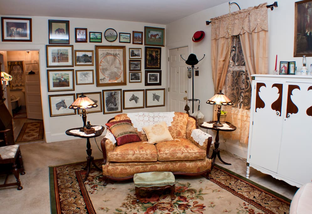 Churchill Room is  sunfilled with a comfortable full size mattress and cabinet storage.