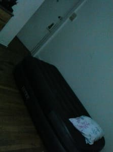 Airbed in living room/kitchen
