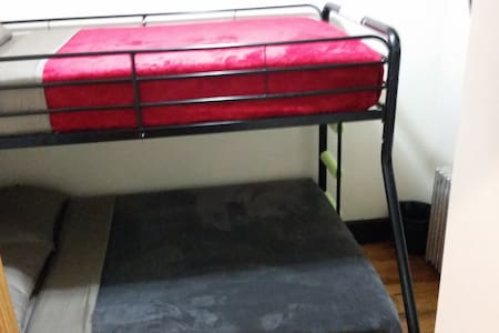 BkOasis4 Twin/Full Bunk Bed Ltrain!