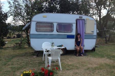 Oldtimer Caravan at the Farmhouse