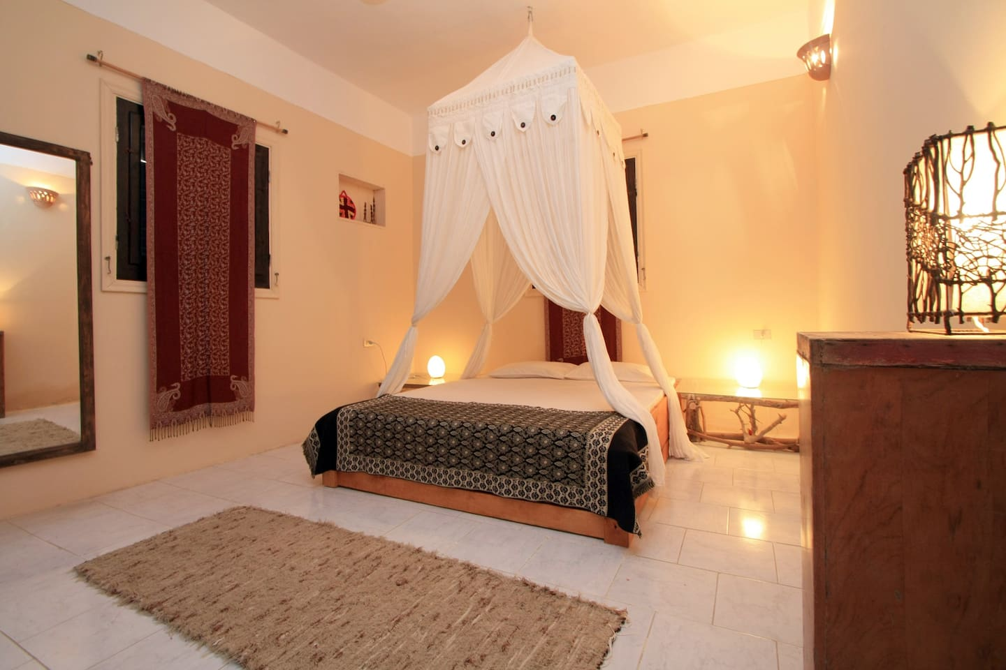 The master bedroom at The Beach House Dahab