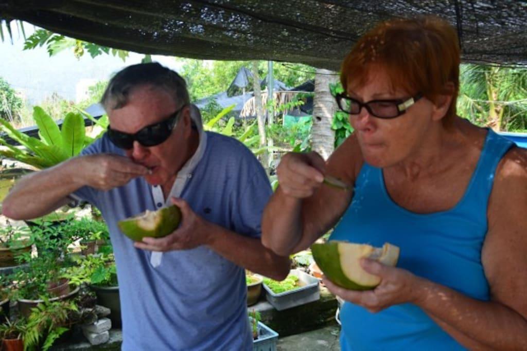 Brian & Julia Enjoying Coconut