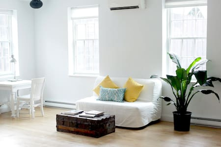 This newly renovated  800sf artist loft in the historic South Street Seaport is beautifully sun lit, comfortable and centrally located near the Fulton Street subway hub. Explore the unique neighborhood and fantastic shopping dining and nightlife.