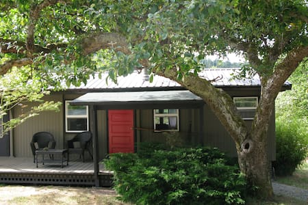 It is a separate vintage mobil home that has been brought up to the cozy cottage feel of the present day.  It is set on a 125 year old orchard maintained for 45 years by us.  3mi from ferry (nice for bicyclists) 7 miles to Eastsound.