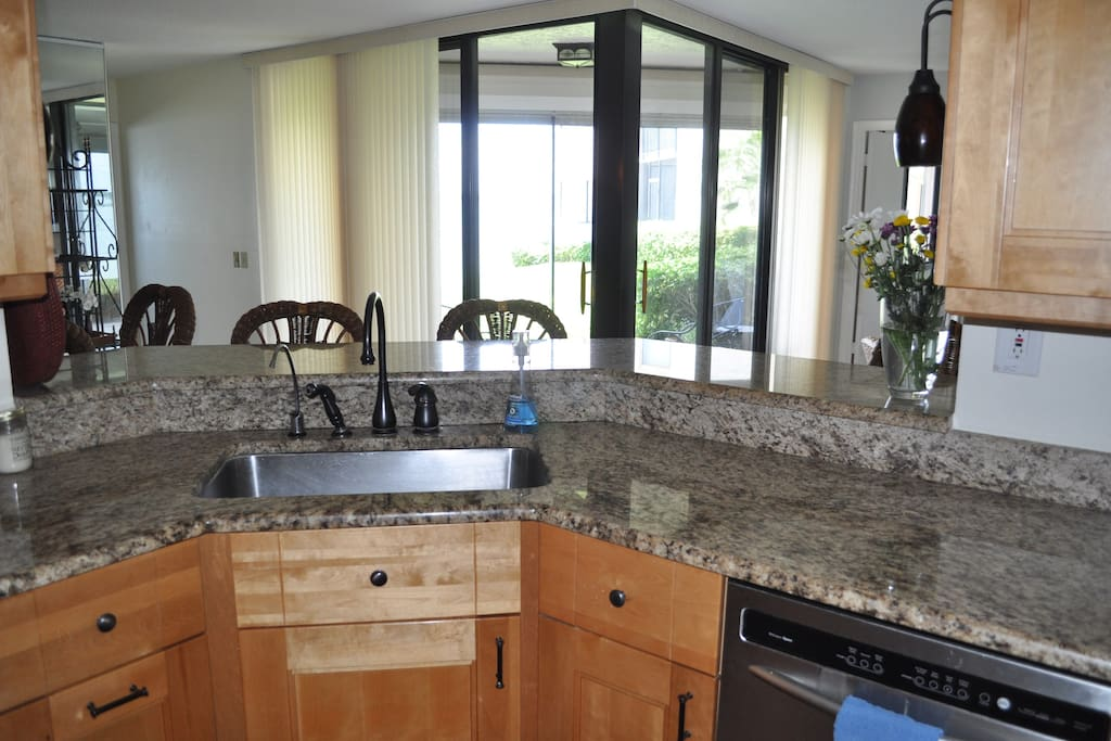 Newly remodeled kitchen.  Fully furnished with items for you to cook. Nice appliances and extras like teapot, toaster, coffee maker, etc.