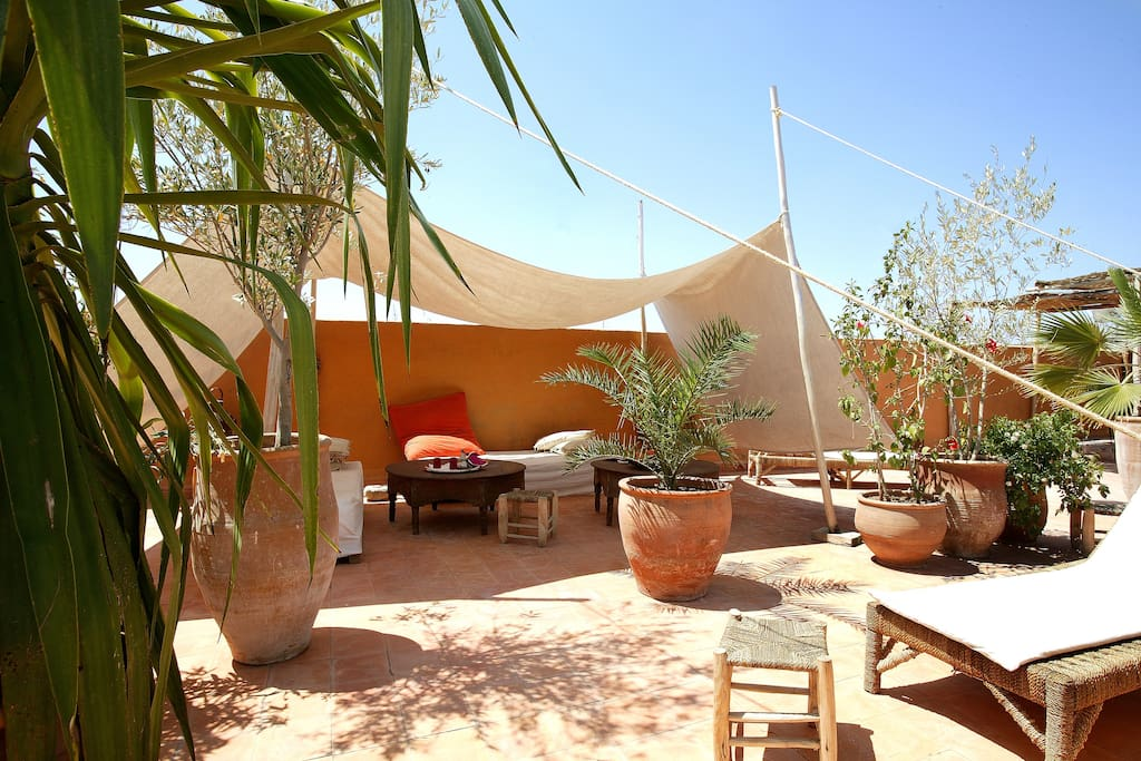 White Tent on roof terrace