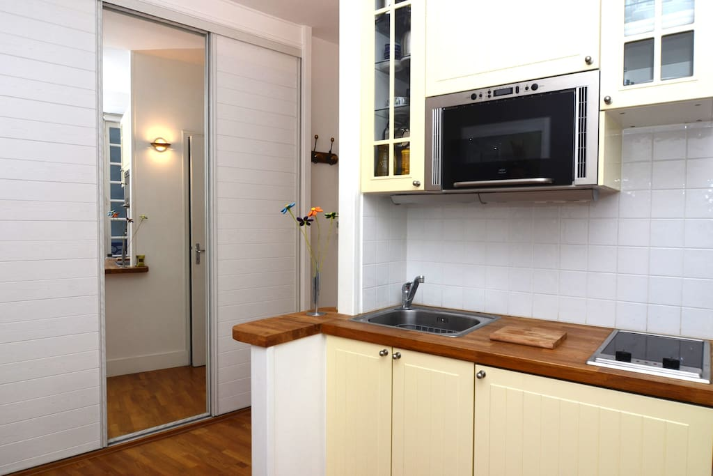 Kitchen looking toward spacious closet space.