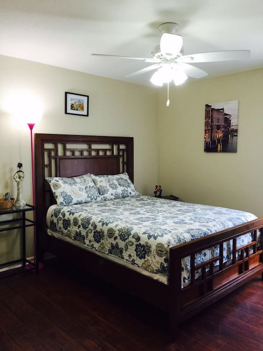 This is the first guest bedroom we are renting out. New Tempur- Pedic adjustable queen size bed with high quality beddings. Extra pillows and blankets are available.