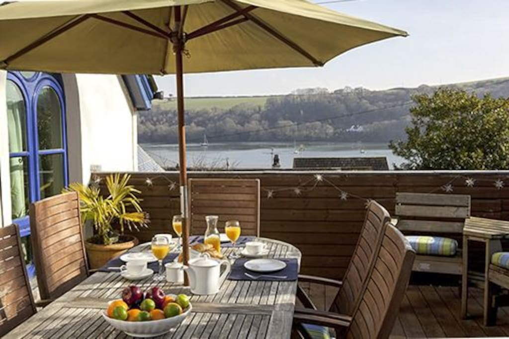 Watch the boats sail by from the spacious terrace.