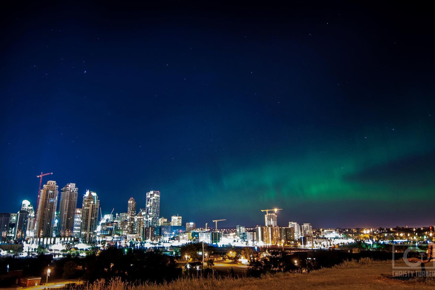 Northern lights in August, 2015. Aurora is found very close to Calgary city limits many nights a year.