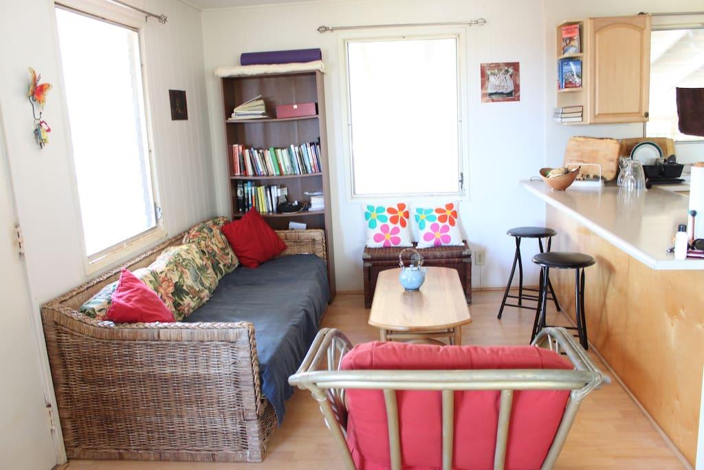 Bright, comfy living room