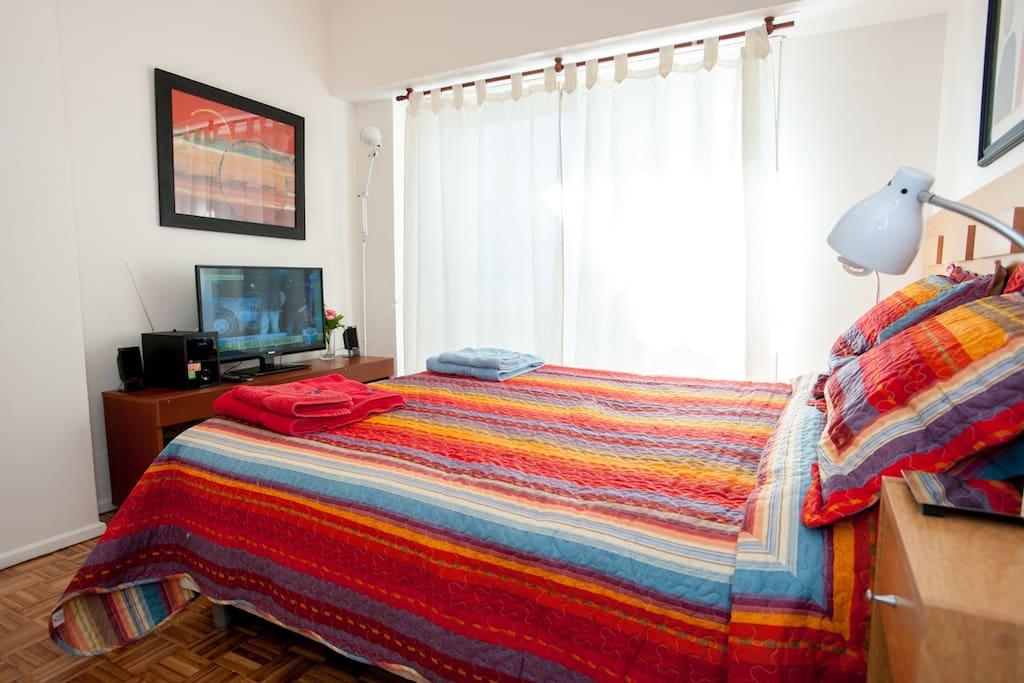 TV plano, equipo de audio y aire acondicionado en el dormitorio.