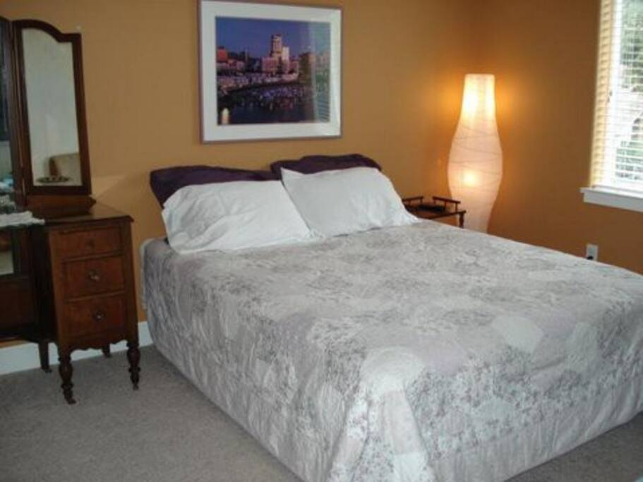 Private guest bedroom with full bath.