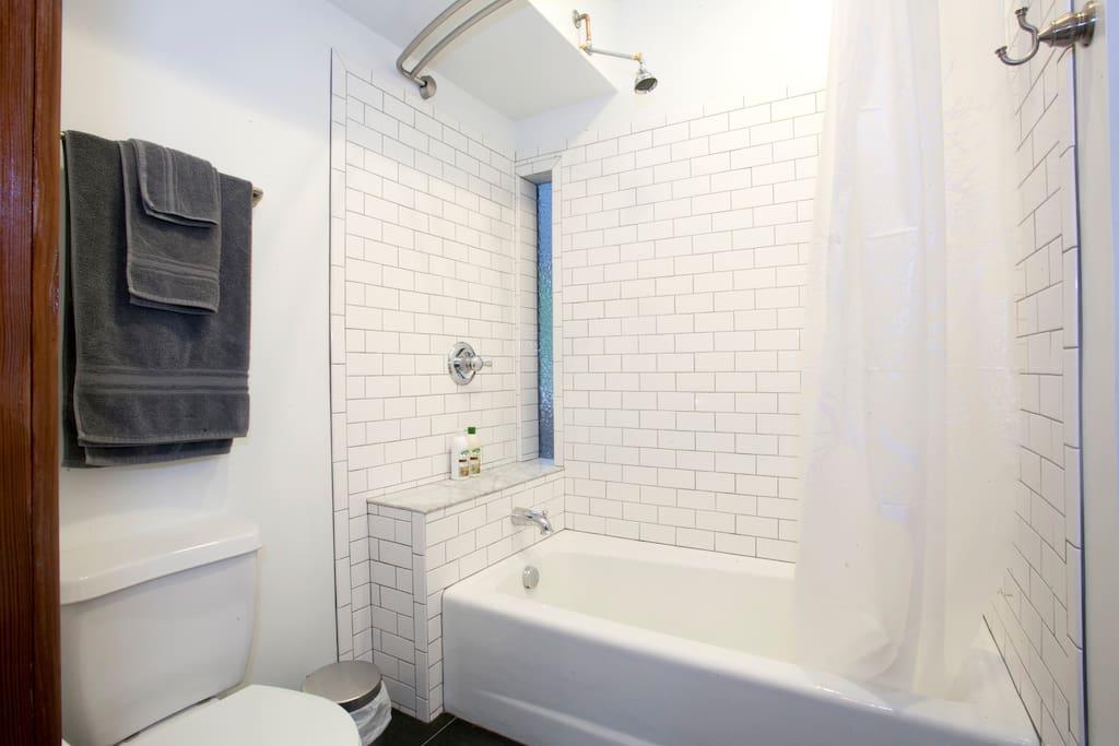 New, clean, beautiful bathroom.