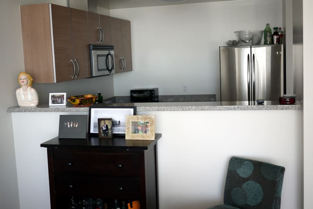 Open kitchen with top grade appliances