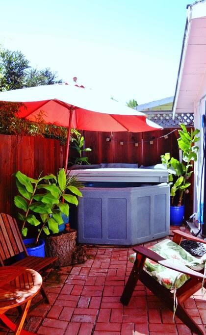 Private enclosed back patio