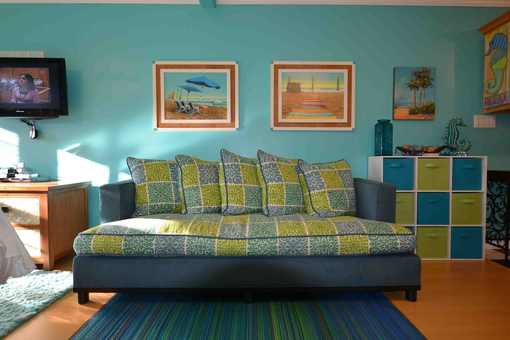 Super Comfy, High End, Custom Made, Down Stuffed Couch Complete With Huge, Down Stuffed Pillows!