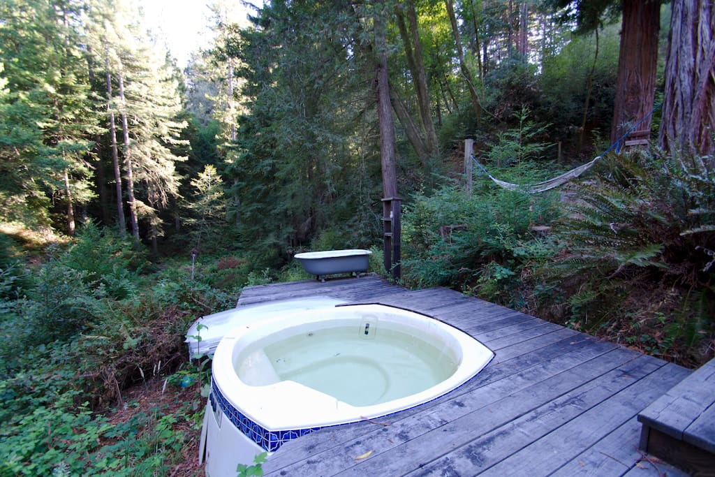 The Hot Tub with it's view of the meadow below.