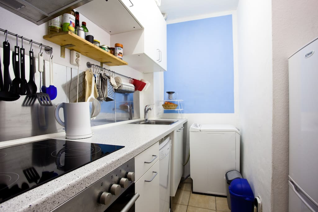 The kitchen is equipped with a WASHING MACHINE, DRYING RACK, DISHWASHER, refrigerator with freezer, kettle, coffee machine, cooker with oven and toaster.