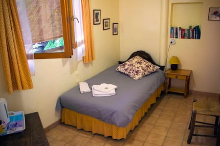 Comfortable, quiet room, with shared bathroom, opens onto our garden overlooking a stream. Free wifi. Five minute walk into our 12th century town. Family atmosphere. Visit local wineries, medieval villages, lakes, gorges, 30 minutes from the sea.