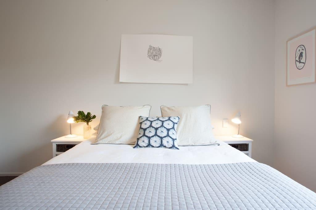 Your very comfortable top quality plush queen bed with fresh 100% cotton bedding and euro pillows.