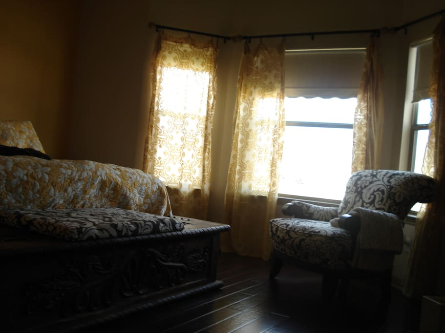 Master bedroom, light control shades for daytime napping