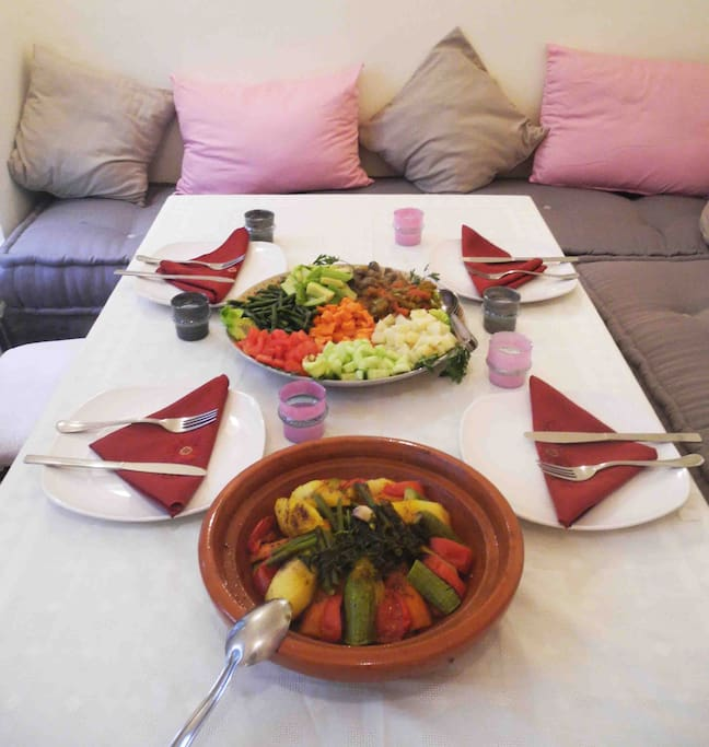 Enjoy a delicious home cooked Moroccan dinner in our chic dining area.