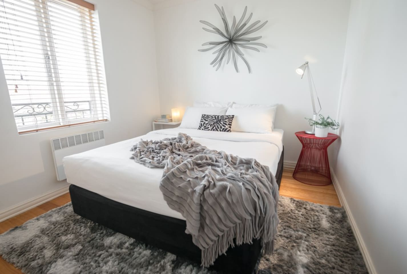 Luxurious bedroom with super comfy queen bed and hotel quality linens