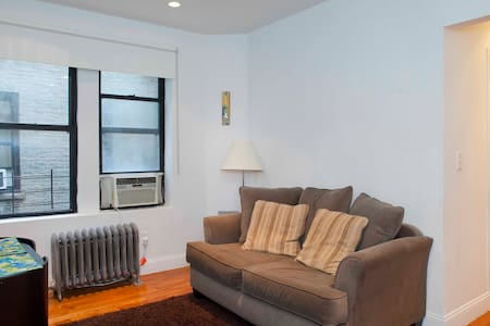 Our two bedroom apartment is best for a small family arriving to the big Apple. It is located right at the end of the One Museum Mile (http://onemuseummile.com) and just 30 steps from Central Park. You will find here happiness, kindness and safety.