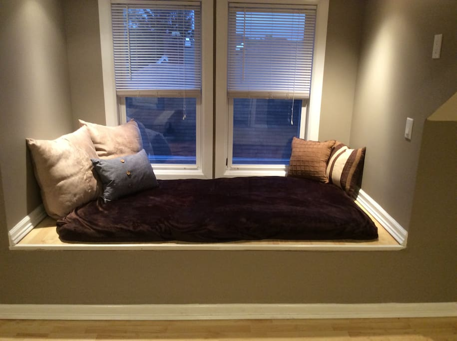 The bay window is a great place to curl up and relax.