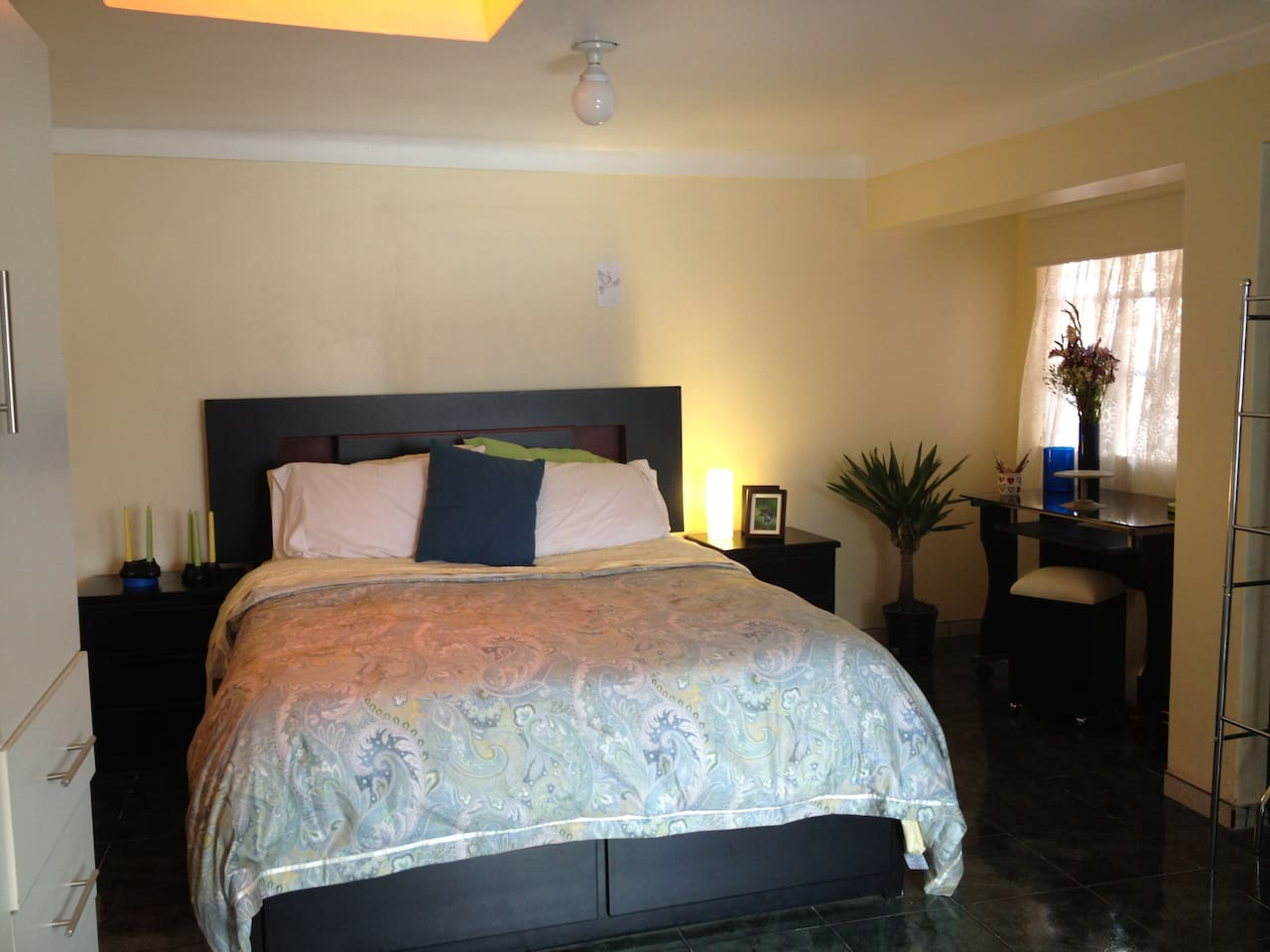 Bedroom with skylights, queen bed, plenty of storage and space