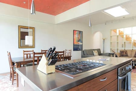 Mediterranean house, blocks from Healdsburg Plaza, Sonoma County. This entire upstairs unit has open plan gourmet kitchen, dining/living room, dining patio w/ BBQ  & rooftop deck with gorgeous view. 2BR/2bath + sleeper sofa. See also Cypress Studio.